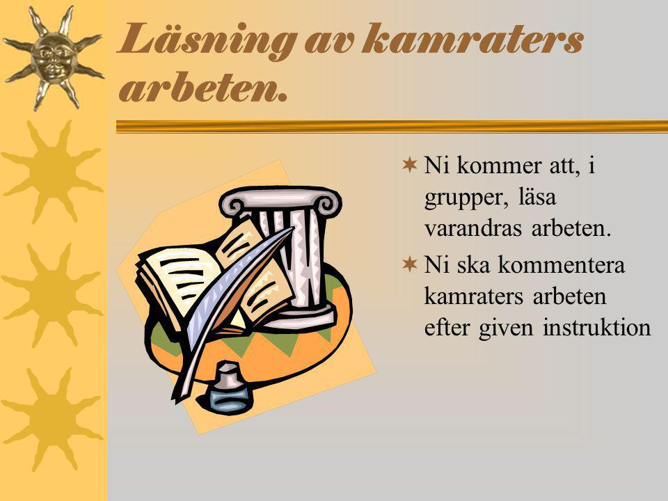 Läsning av kamraters arbeten.
