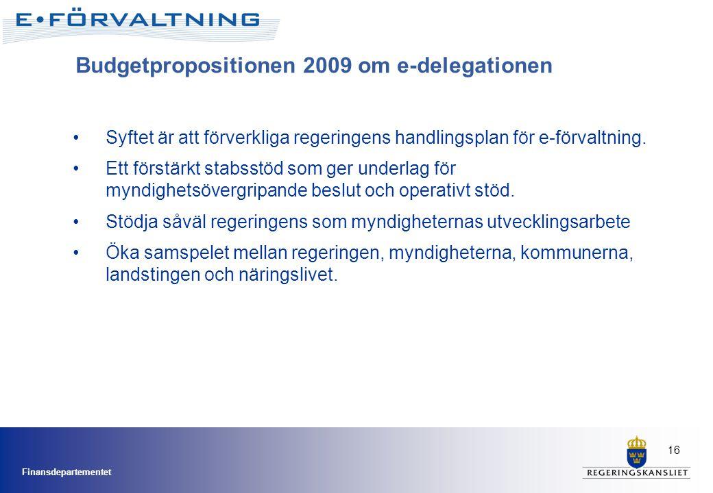 Budgetpropositionen 2009 om e-delegationen