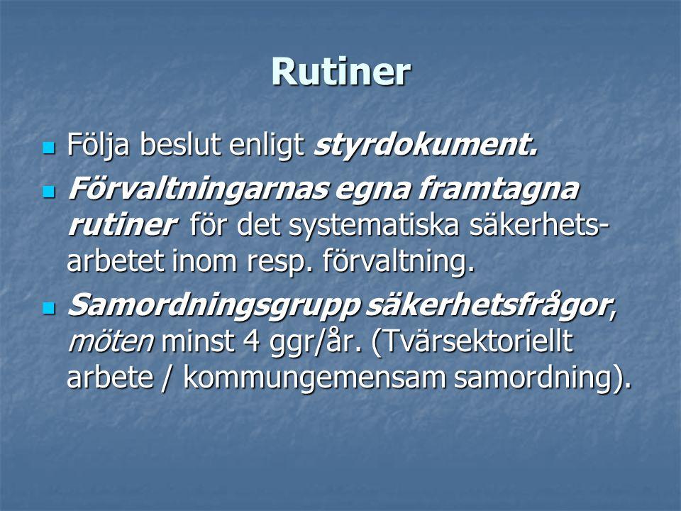 Rutiner Följa beslut enligt styrdokument.