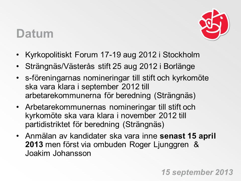 Datum Kyrkopolitiskt Forum 17-19 aug 2012 i Stockholm