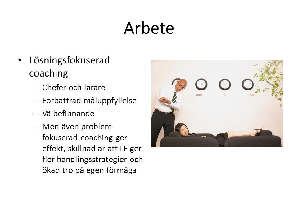 Arbete Lösningsfokuserad coaching Chefer och lärare
