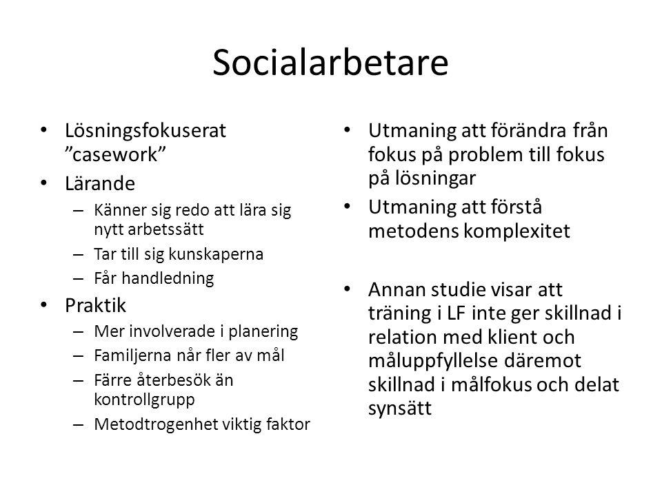 Socialarbetare Lösningsfokuserat casework Lärande Praktik