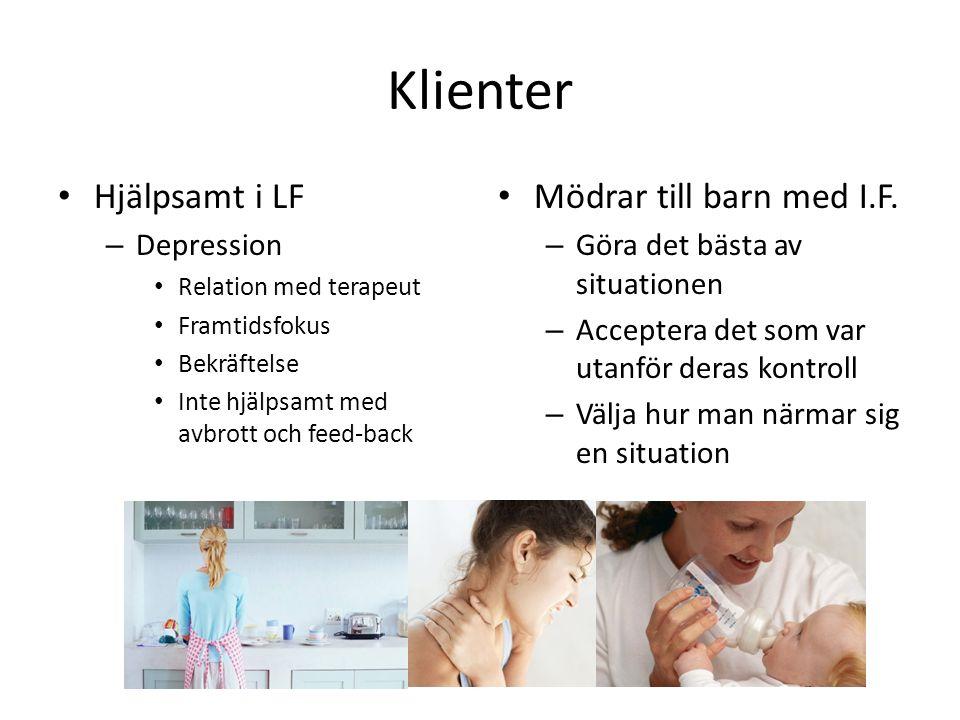 Klienter Hjälpsamt i LF Mödrar till barn med I.F. Depression