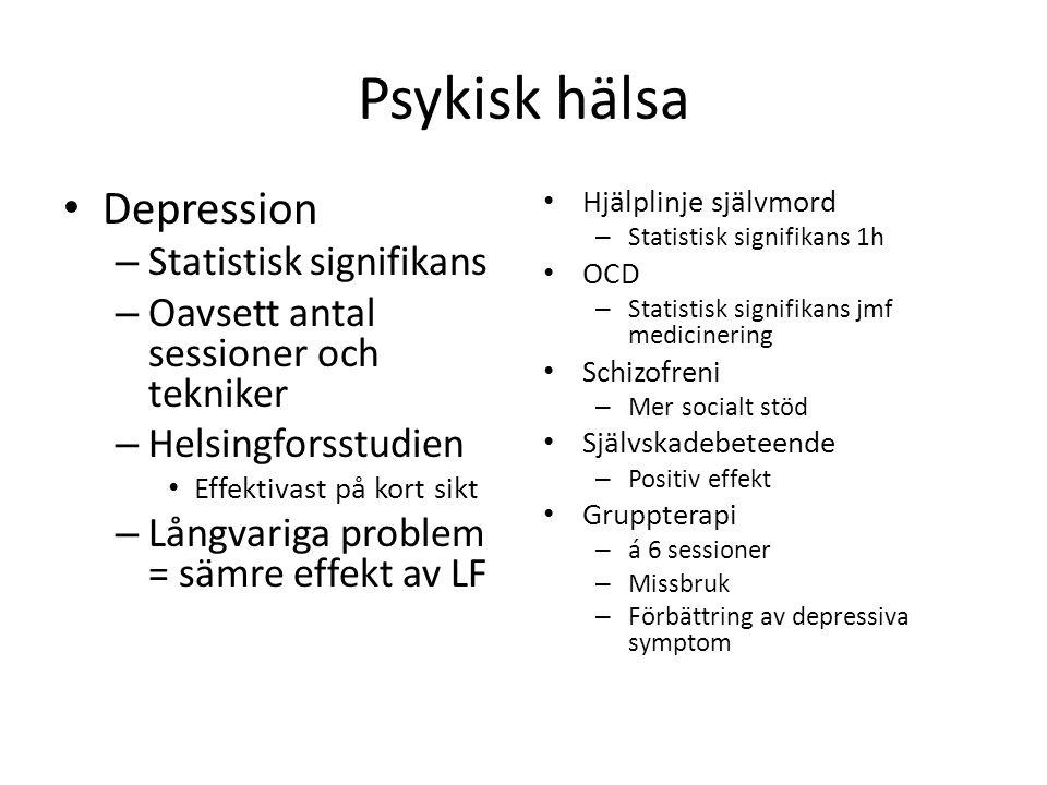 Psykisk hälsa Depression Statistisk signifikans