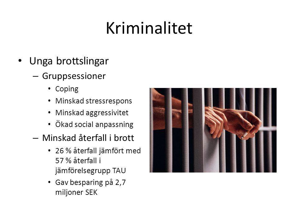 Kriminalitet Unga brottslingar Gruppsessioner Minskad återfall i brott