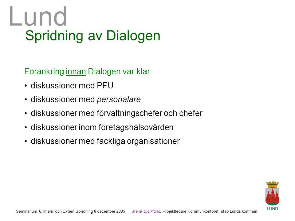 Spridning av Dialogen Förankring innan Dialogen var klar