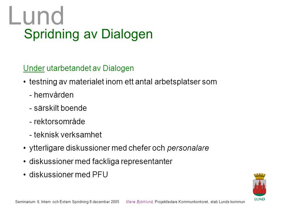 Spridning av Dialogen Under utarbetandet av Dialogen