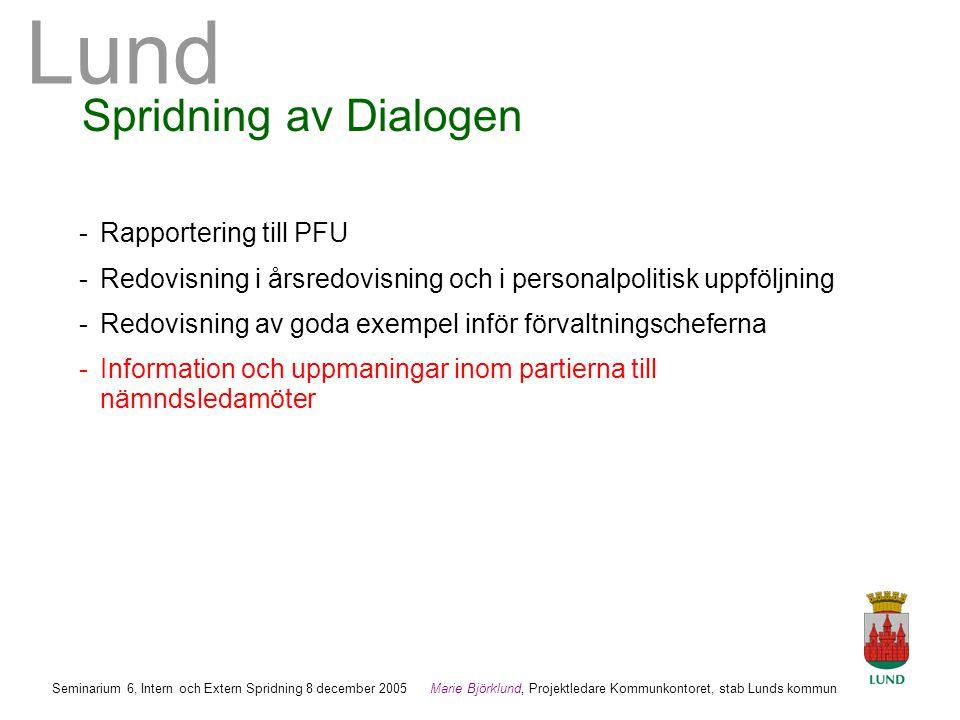 Spridning av Dialogen - Rapportering till PFU