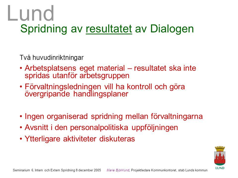 Spridning av resultatet av Dialogen