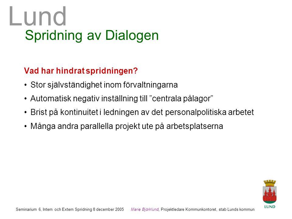 Spridning av Dialogen Vad har hindrat spridningen