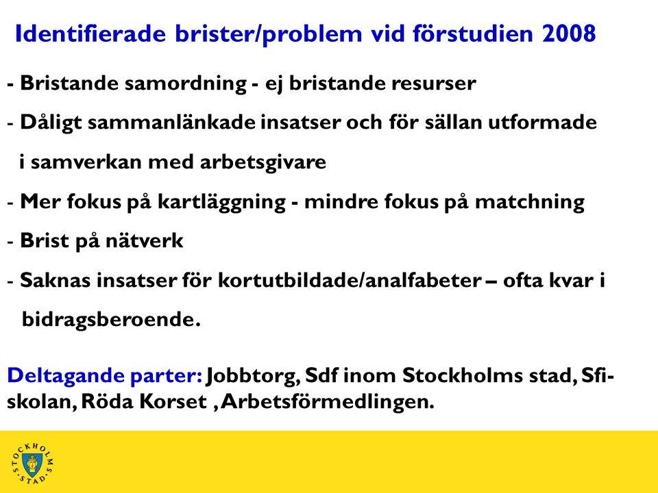 Identifierade brister/problem vid förstudien 2008