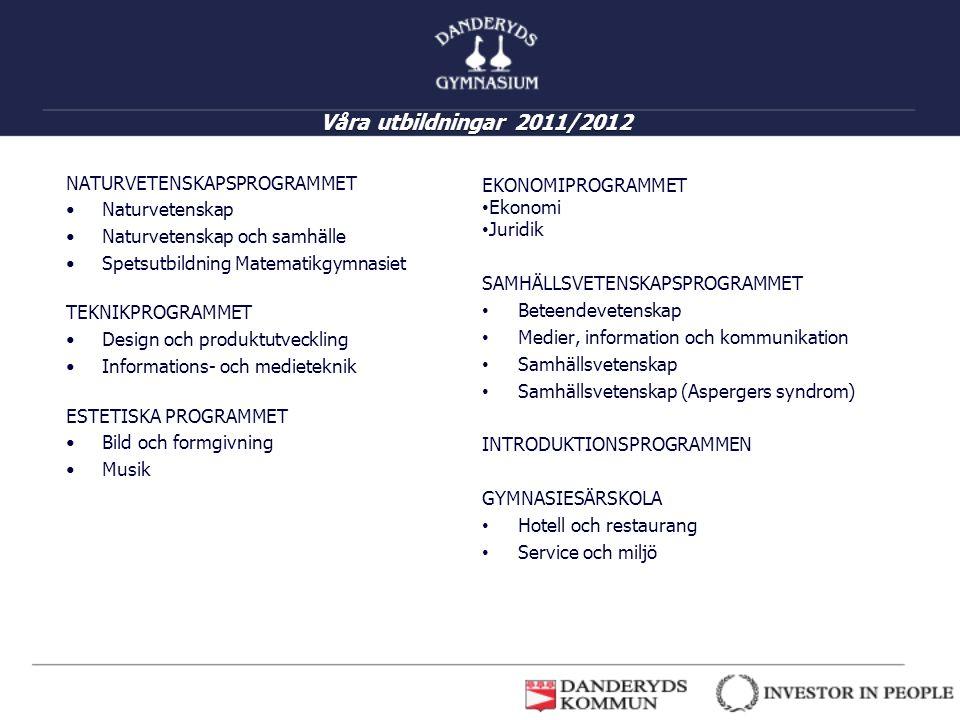 Våra utbildningar 2011/2012 NATURVETENSKAPSPROGRAMMET Naturvetenskap