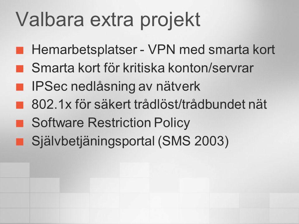 Valbara extra projekt Hemarbetsplatser - VPN med smarta kort