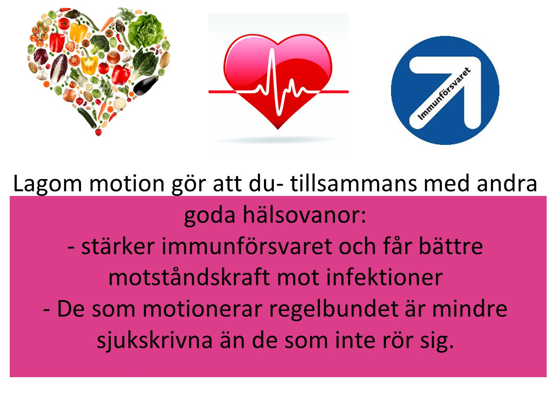 Lagom motion gör att du- tillsammans med andra goda hälsovanor: - stärker immunförsvaret och får bättre motståndskraft mot infektioner - De som motionerar regelbundet är mindre sjukskrivna än de som inte rör sig.