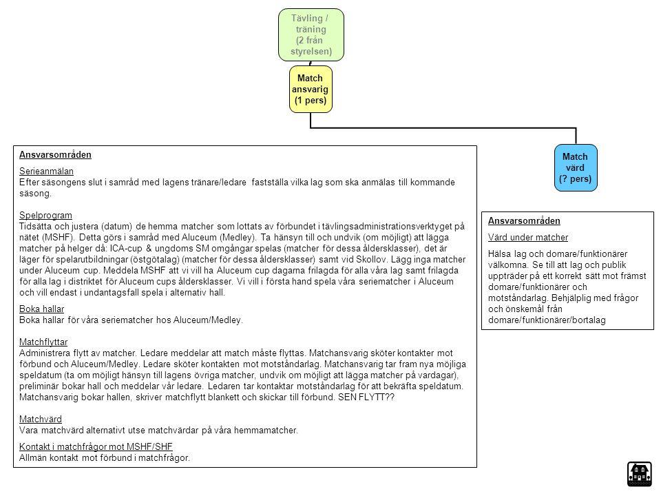 Tävling / träning (2 från styrelsen) Match ansvarig. (1 pers) Ansvarsområden.