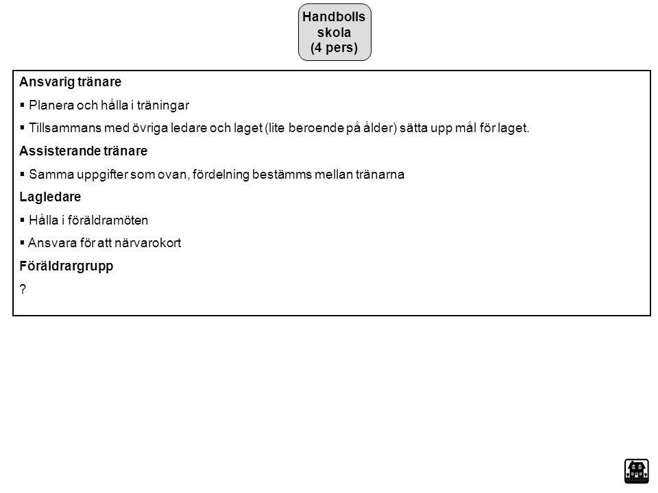 Handbolls skola (4 pers) Ansvarig tränare. Planera och hålla i träningar.