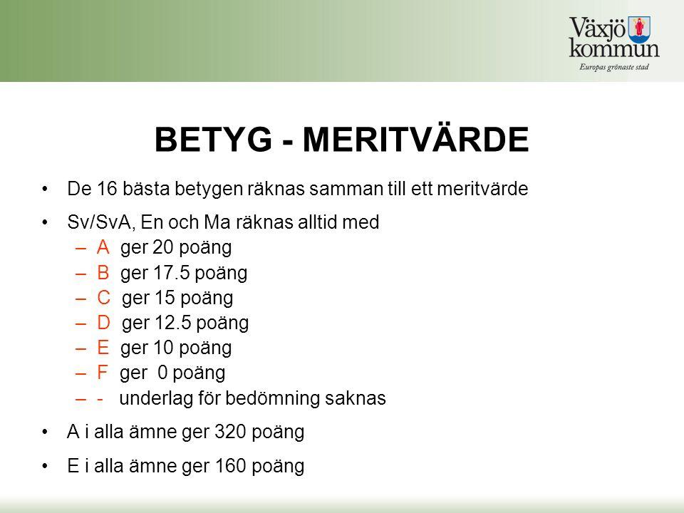 BETYG - MERITVÄRDE De 16 bästa betygen räknas samman till ett meritvärde. Sv/SvA, En och Ma räknas alltid med.