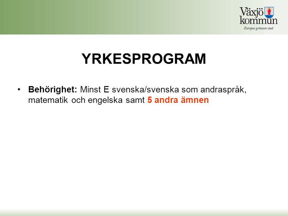 YRKESPROGRAM Behörighet: Minst E svenska/svenska som andraspråk, matematik och engelska samt 5 andra ämnen.