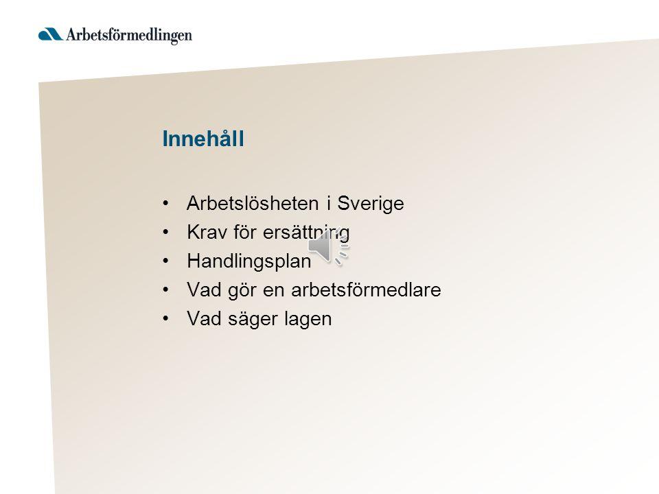 Innehåll Arbetslösheten i Sverige Krav för ersättning Handlingsplan
