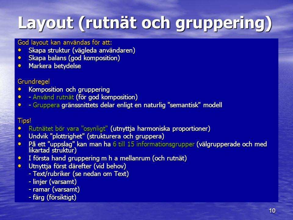 Layout (rutnät och gruppering)