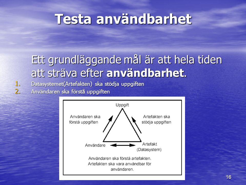Testa användbarhet Ett grundläggande mål är att hela tiden att sträva efter användbarhet. Datasystemet(Artefakten) ska stödja uppgiften.