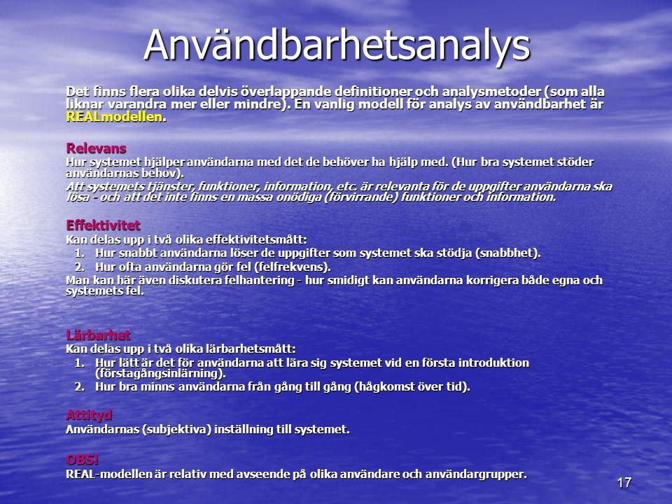 Användbarhetsanalys Lärbarhet Attityd OBS!