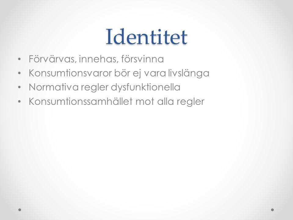 Identitet Förvärvas, innehas, försvinna