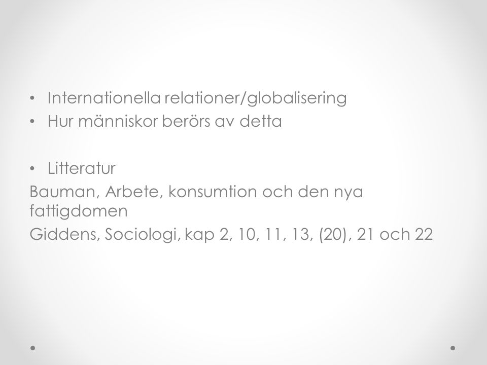 Internationella relationer/globalisering
