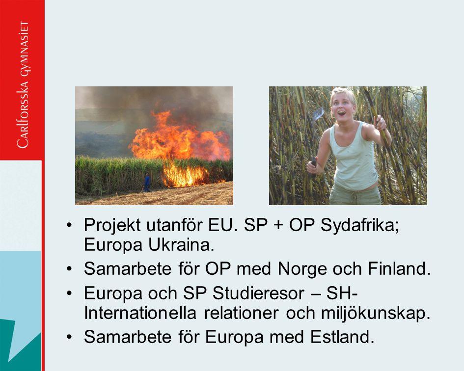 Projekt utanför EU. SP + OP Sydafrika; Europa Ukraina.