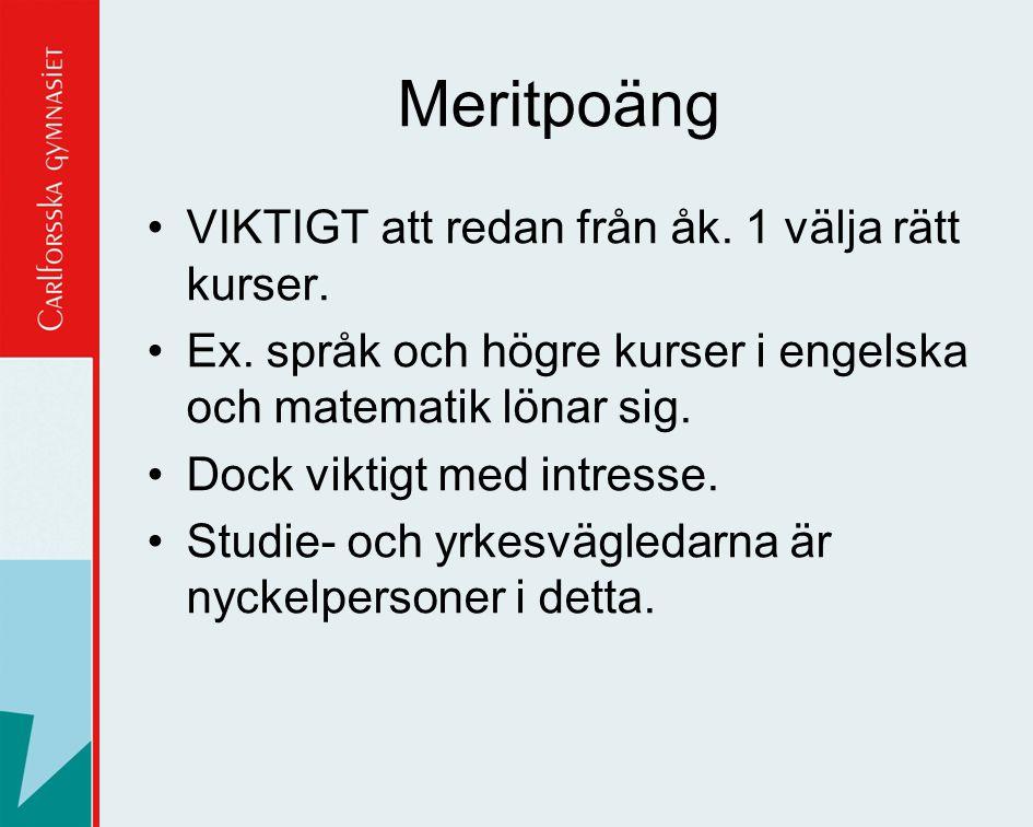 Meritpoäng VIKTIGT att redan från åk. 1 välja rätt kurser.