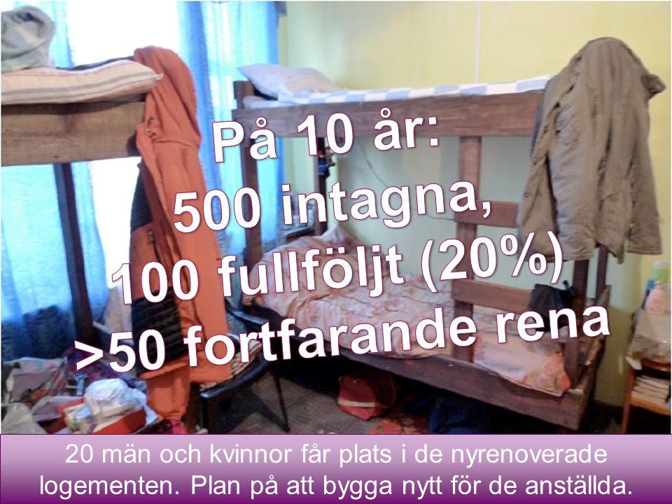 På 10 år: 500 intagna, 100 fullföljt (20%) >50 fortfarande rena