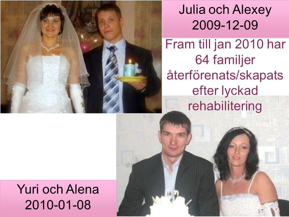 Församlingen 4/3/2017. Julia och Alexey 2009-12-09. Fram till jan 2010 har 64 familjer återförenats/skapats efter lyckad rehabilitering.