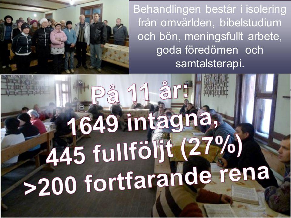 På 11 år: 1649 intagna, 445 fullföljt (27%) >200 fortfarande rena