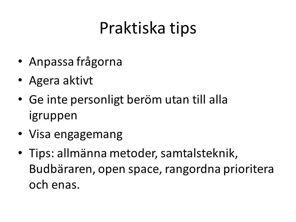 Praktiska tips Anpassa frågorna Agera aktivt