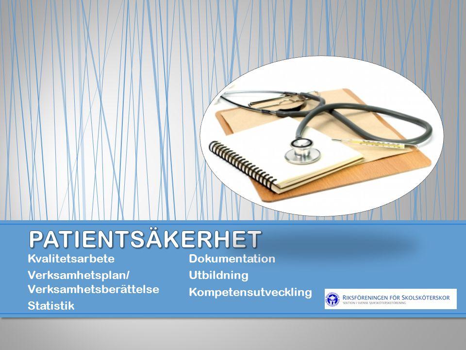 PATIENTSÄKERHET Kvalitetsarbete Dokumentation