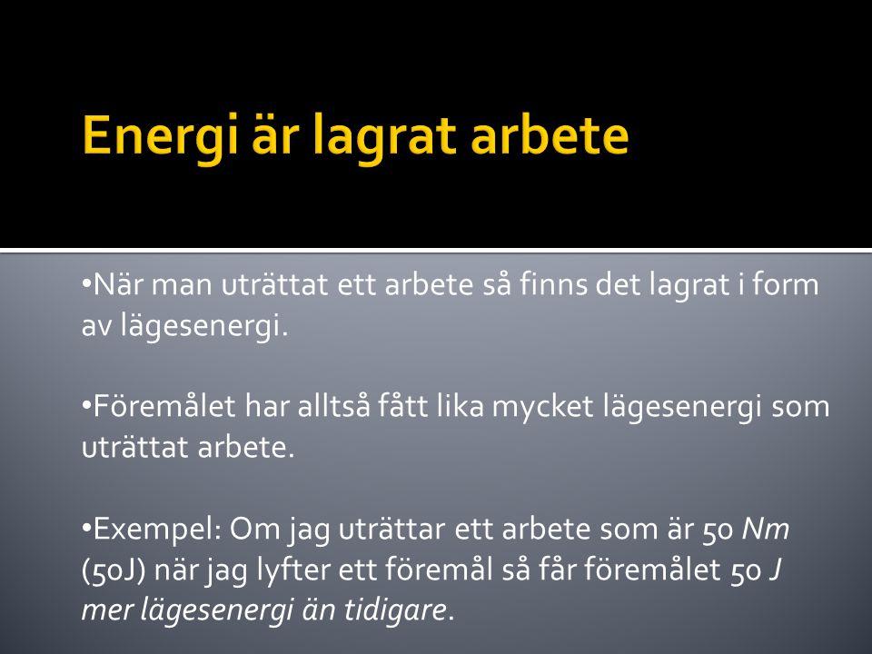 Energi är lagrat arbete