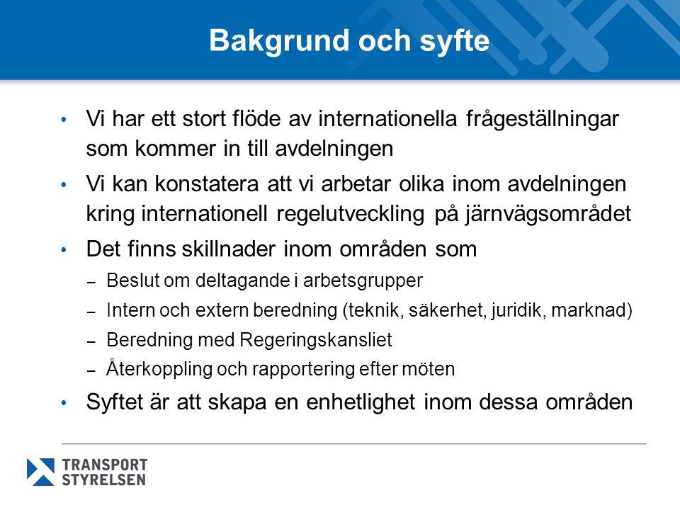 Bakgrund och syfte Vi har ett stort flöde av internationella frågeställningar som kommer in till avdelningen.