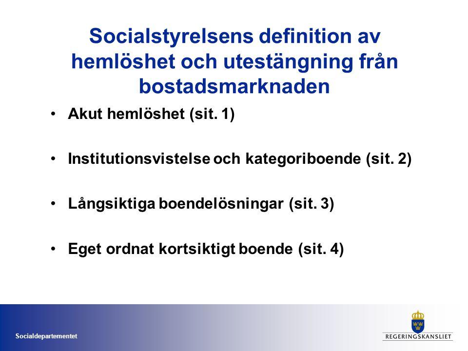 Socialstyrelsens definition av hemlöshet och utestängning från bostadsmarknaden