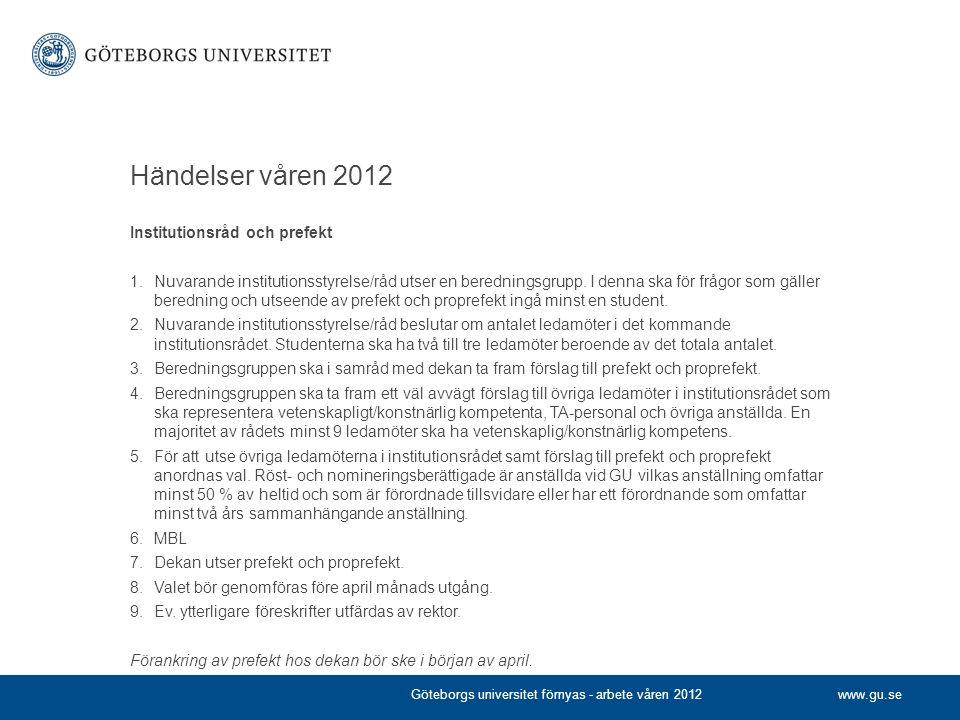 Händelser våren 2012 Institutionsråd och prefekt