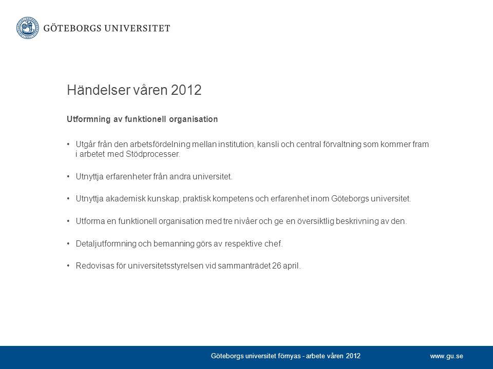 Händelser våren 2012 Utformning av funktionell organisation