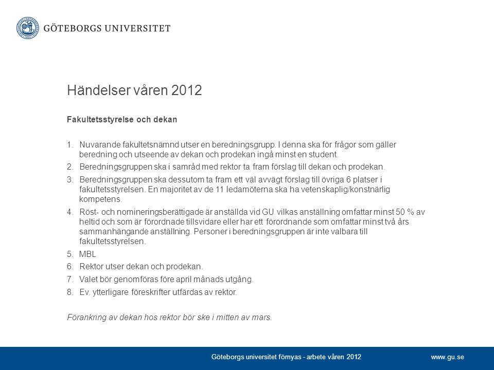 Händelser våren 2012 Fakultetsstyrelse och dekan