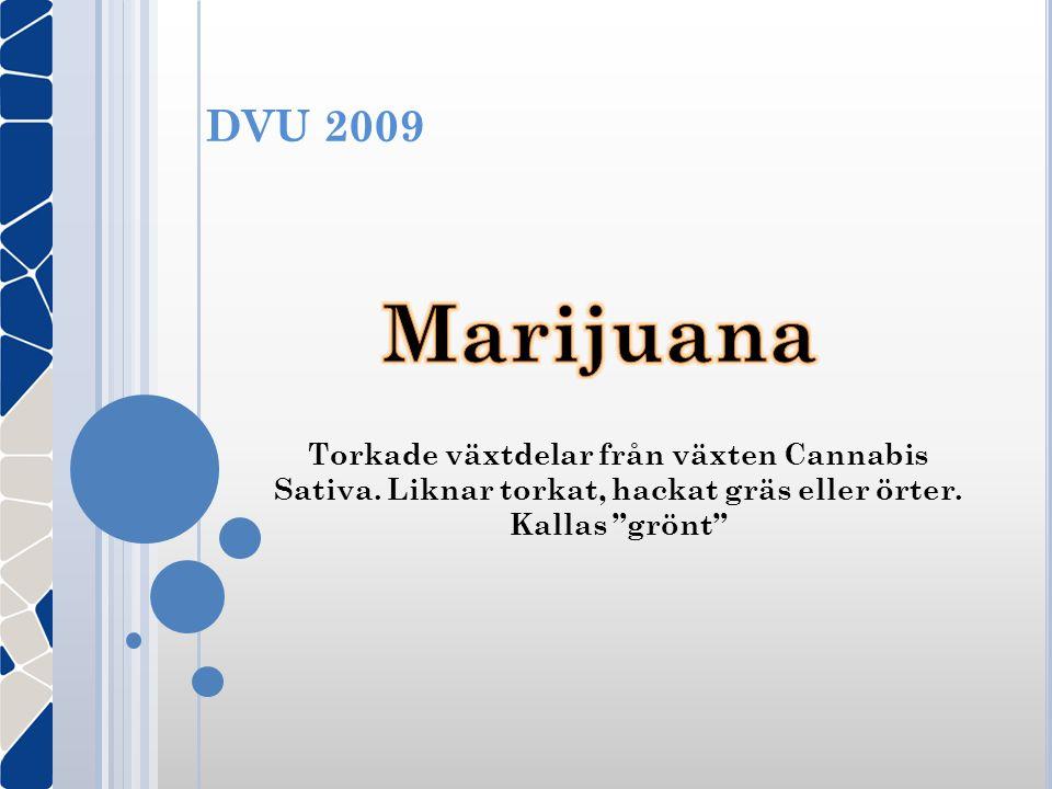 DVU 2009 Torkade växtdelar från växten Cannabis Sativa. Liknar torkat, hackat gräs eller örter. Kallas grönt