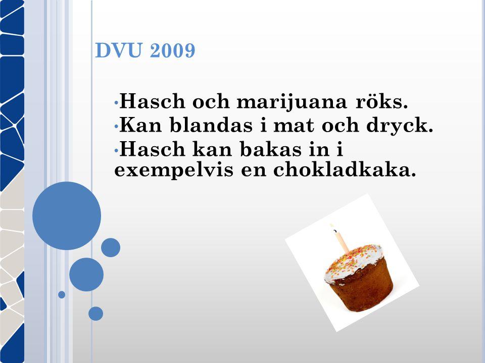 Hasch och marijuana röks. Kan blandas i mat och dryck.