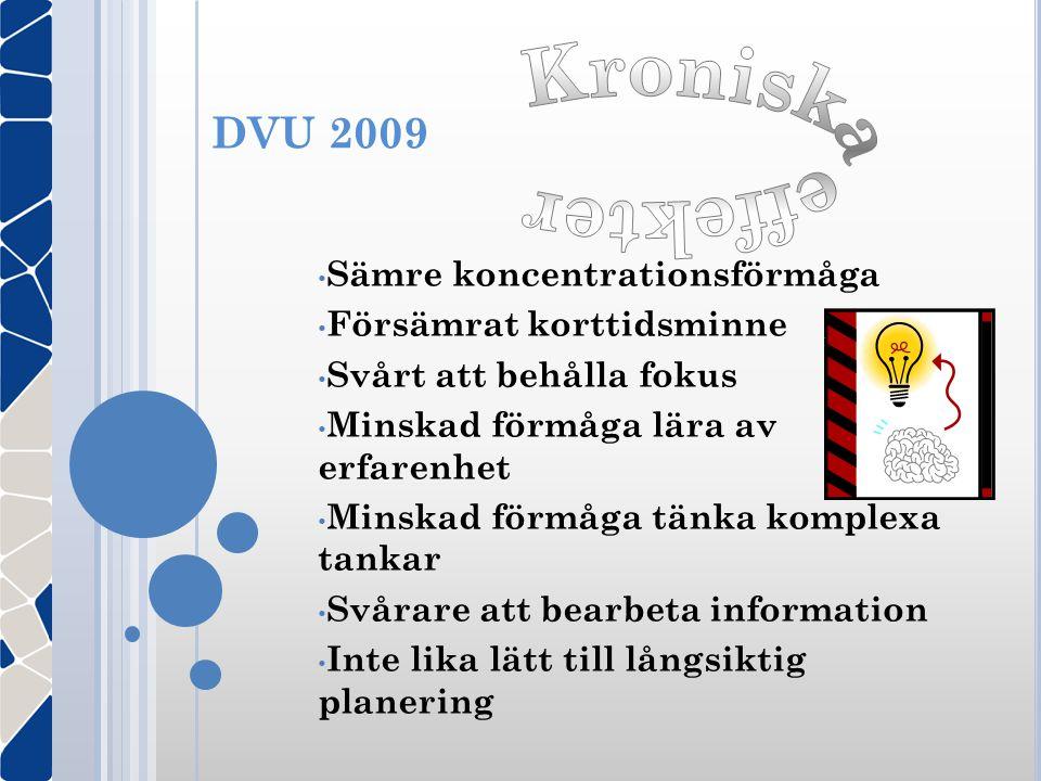 Kroniska effekter DVU 2009 Sämre koncentrationsförmåga