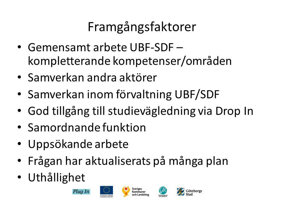 Framgångsfaktorer Gemensamt arbete UBF-SDF – kompletterande kompetenser/områden. Samverkan andra aktörer.