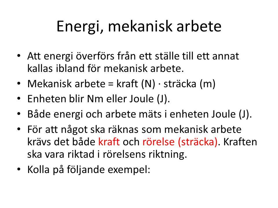 Energi, mekanisk arbete