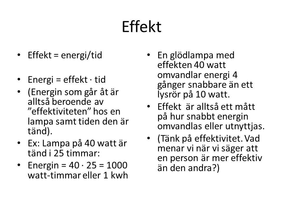 Effekt Effekt = energi/tid Energi = effekt ∙ tid