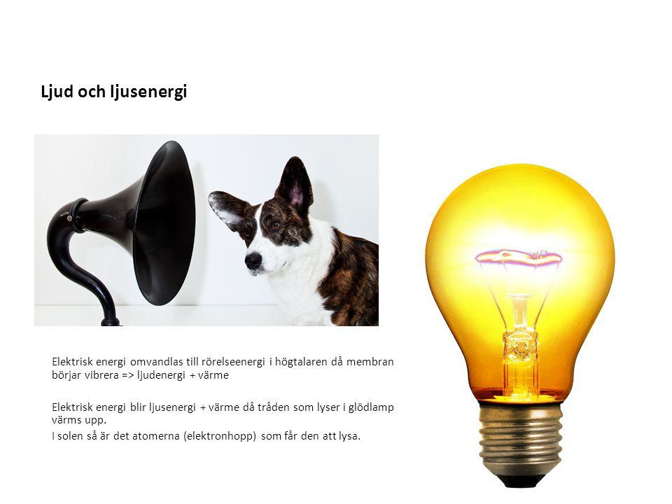 Ljud och ljusenergi Elektrisk energi omvandlas till rörelseenergi i högtalaren då membranet börjar vibrera => ljudenergi + värme.