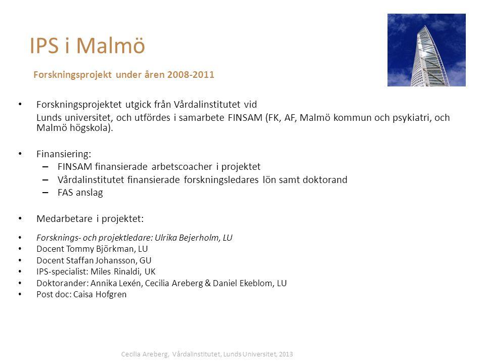 IPS i Malmö Forskningsprojekt under åren 2008-2011