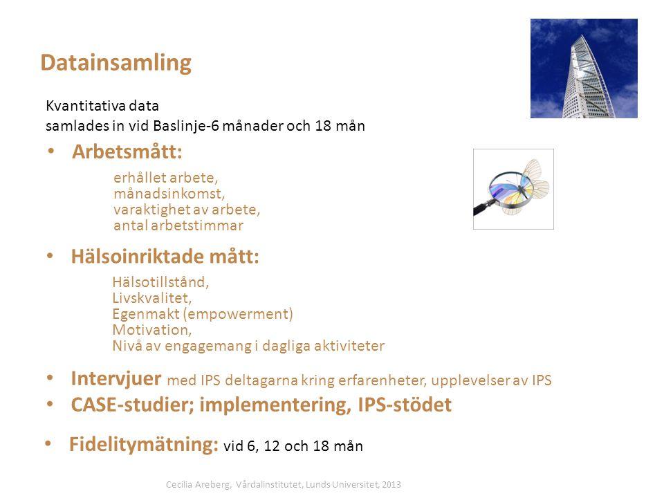 Datainsamling Arbetsmått: Hälsoinriktade mått:
